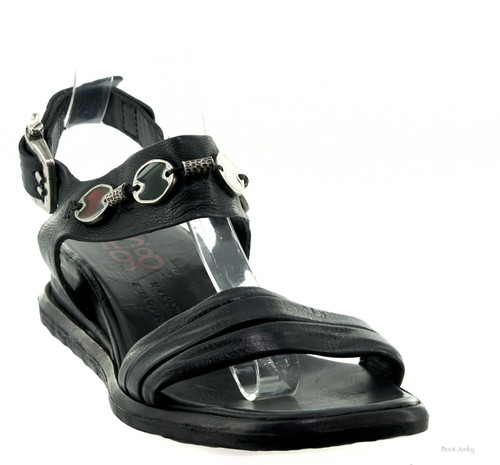 A.S.98 SUDAY NERO BLACK LEATHER LADIES FASHION SANDAL