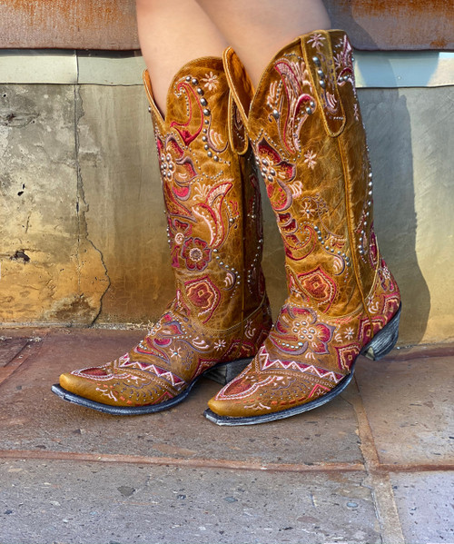"L1653-3 OLD GRINGO OLIVIA LASER BUTTERCUP RIVETED MULTI LEATHER 13"" BOOTS"