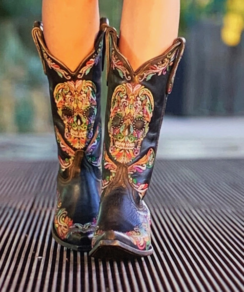 """L3191-4 OLD GRINGO DULCE CALAVERA SKULL OLD HORSE BLACK MULTI CRYSTAL BEADED 13"""" EMBROIDERED LEATHER BOOTS"""