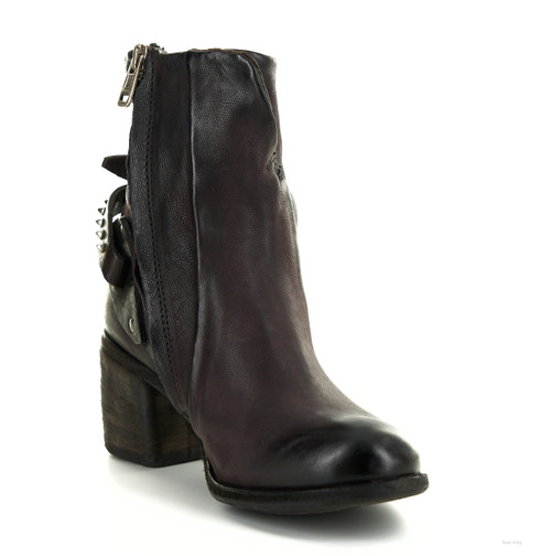 A.S.98 BAIRD LIZ WINE BUCKLED LEATHER ANKLE BOOTS