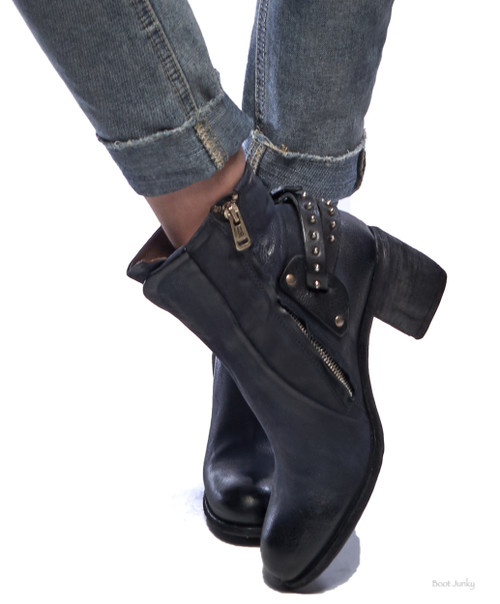A.S.98 BAIRD TORONADO NAVY BUCKLED LEATHER ANKLE BOOTS