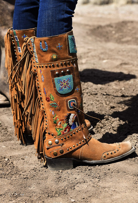 """DDL051-1 DOUBLE D RANCH AMERICAN ASSEMBLAGE OCHRE BEADED FRINGE 15"""" LEATHER BOOTS"""