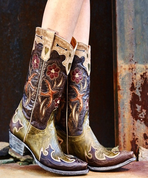 "L1243-11 OLD GRINGO GOLONDRINA PULL 12"" MILITARY/CHOCOLATE/BONE/RED LEATHER OVERLAY BOOTS"