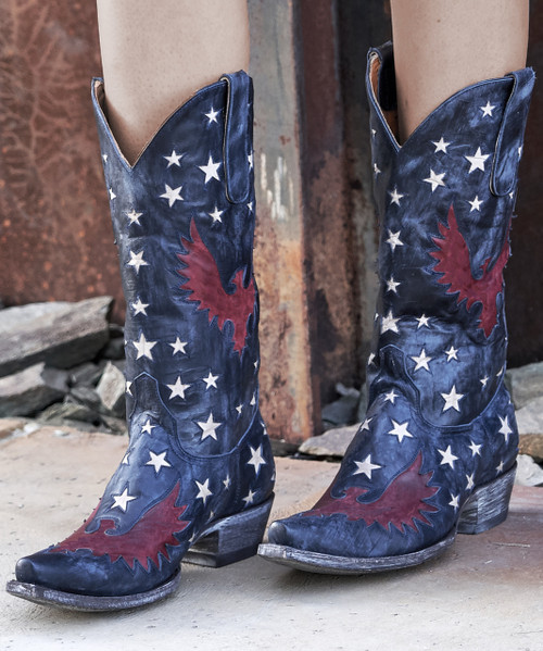"L1627-8 OLD GRINGO EAGLE INLAY STAR NAVY VESUVIO RED TEXTURED BONE 13"" LEATHER BOOTS"