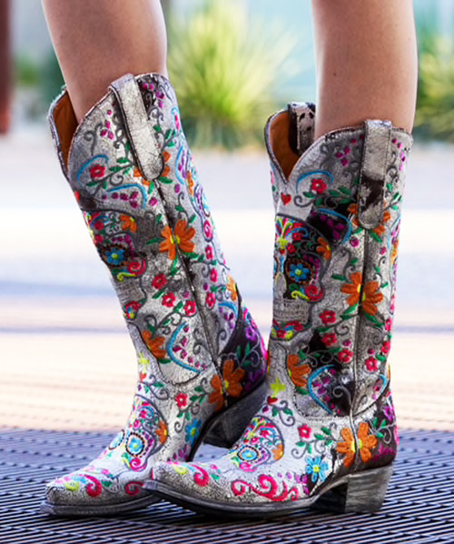 "L1300-27 OLD GRINGO SUGAR SKULL KLAK WHITE BROWN METALLIC NEON EMBROIDERED 13"" LEATHER BOOTS"