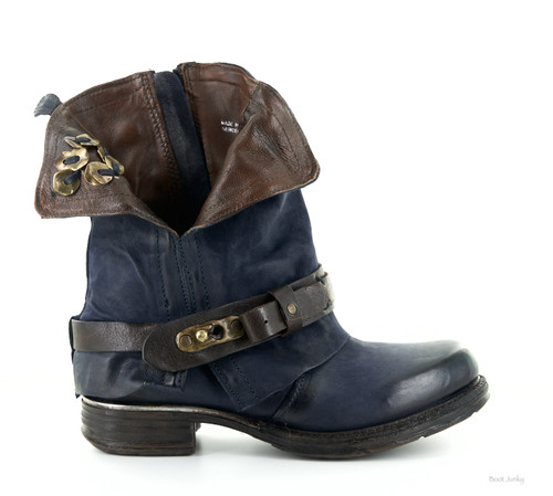 A.S.98 Squire Midnight Navy Chestnut Leather Ankle Boots