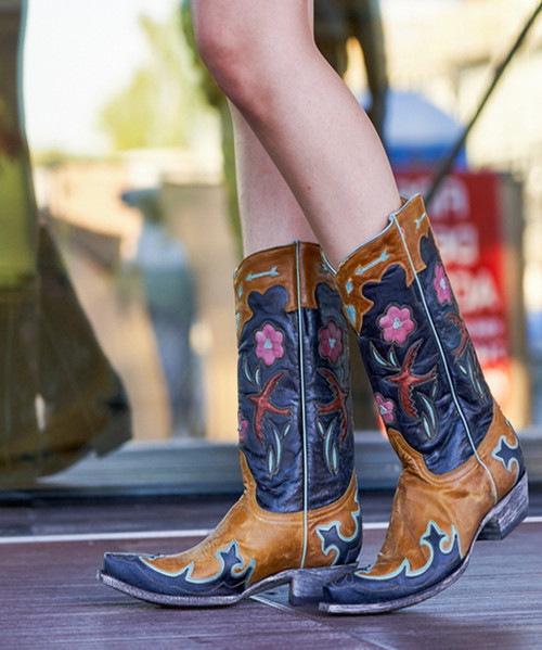 """L 179-17 OLD GRINGO GOLONDRITA PULL 12"""" NAVY/BUTTERCUP/PINK/TURQUOISE LEATHER OVERLAY BOOTS"""