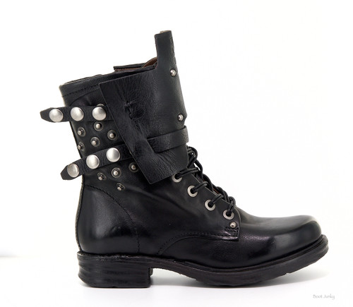 A.S.98 SLADER NERO BLACK LACE UP WOMEN'S LEATHER BIKER BOOTS