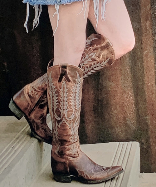 """L1213-28 OLD GRINGO MAYRA SADDLE BRASS BLUE JEAN EMBROIDERED 18"""" BOOTS"""