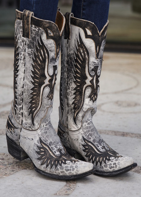 "L 105-79  OLD GRINGO EAGLE GREY LEOPARDITO 15"" DISTRESSED BLACK COWGIRL LEATHER BOOTS"