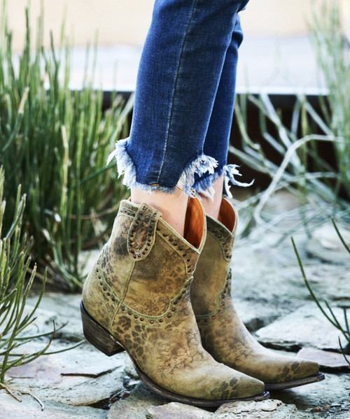 """L 421-6 OLD GRINGO NEW PORT 8"""" TURQUOISE LEOPARDITO LEATHER ANKLE BOOTS"""