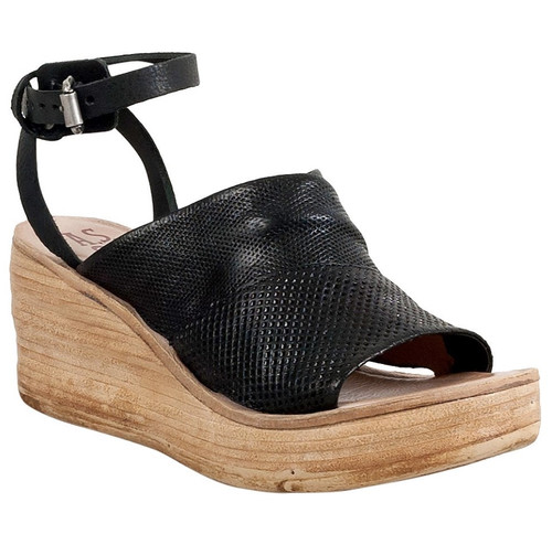 A.S.98 NIALL NERO LEATHER WEDGE LADIES SANDEL