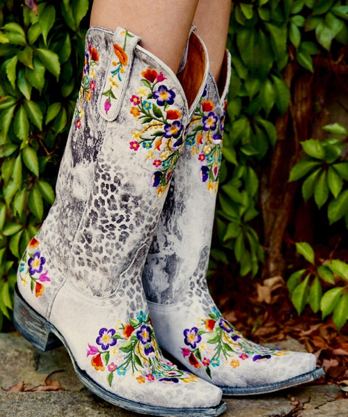 """L 841-42 OLD GRINGO SORA GRAY LEOPARDITO MULTI EMBROIDERED 13"""" WOMENS LEATHER BOOTS"""