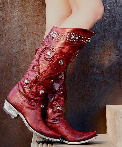 "L 942-1 OLD GRINGO PACHANGA RED VESUVIO LEATHER 16"" BOOTS 4L TOE/9964 HEEL"