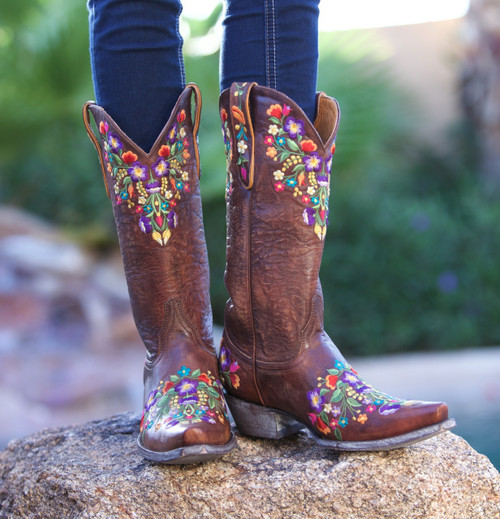 """L 841-3 OLD GRINGO 13"""" SORA BRASS MULTI NEON WOMENS LEATHER BOOTS"""