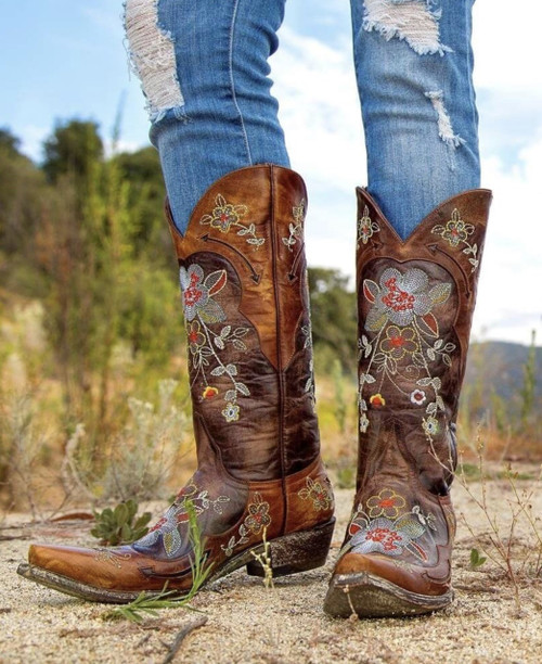 """L 649-1 Old Gringo Bonnie 13"""" Brown Brass Multi Embroidered Leather Boots"""