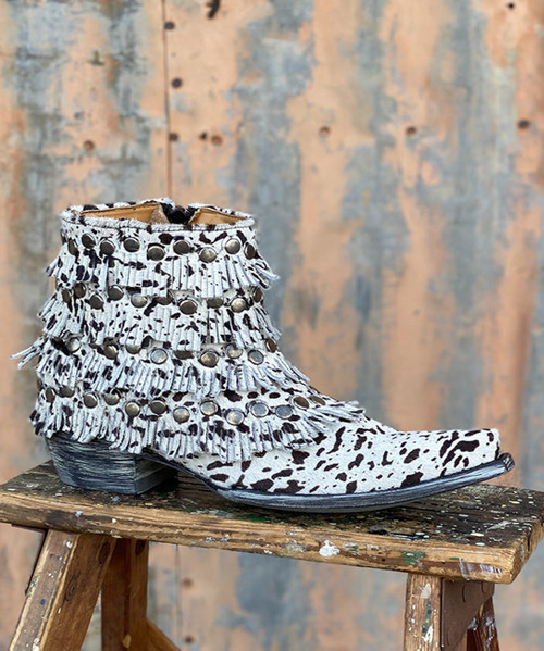 BL3380-1 OLD GRINGO MEDUSA COW PRINT HAIR ON HIDE FRINGE ANKLE BOOTS