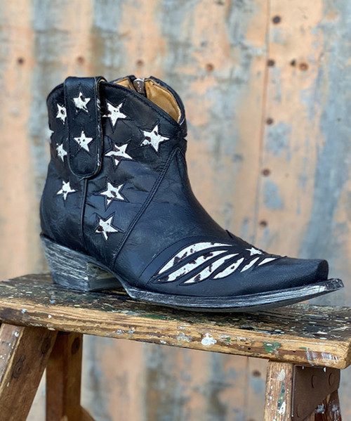 BL2976-6 OLD GRINGO UNITED BLACK VESUVIO COW PRINT ANKLE BOOTS