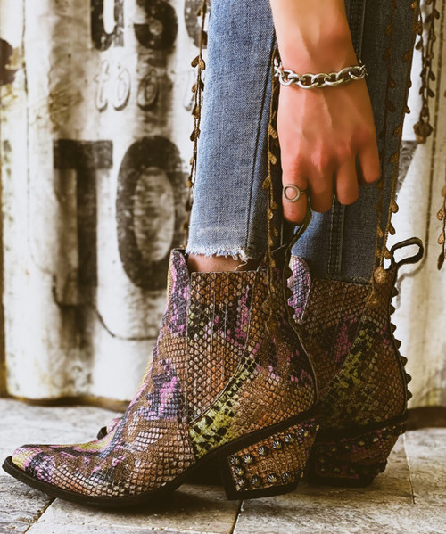 BL3210-3 OLD GRINGO JUNO SNAKE PRINT MATTE FINISHED GAUCHO STUDDED ANKLE BOOT