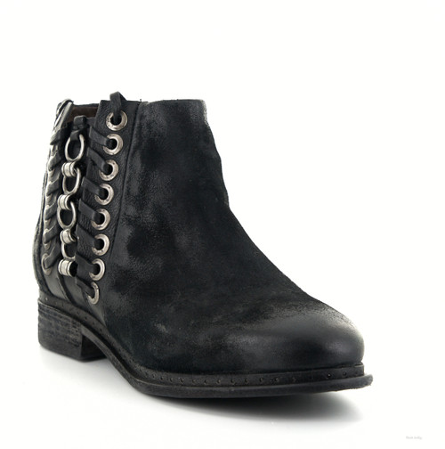 A.S.98 LOGAN NERO BLACK LEATHER ANKLE BOOTS