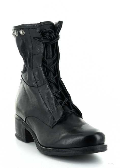 A.S.98 ISLA NERO BLACK LACE UP LEATHER BOOTS
