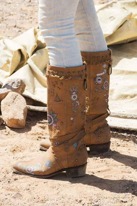 """DDL031-1 DOUBLE D RANCH BT OF THE TOM TOM 15"""" BEIGE LEATHER BOOTS"""