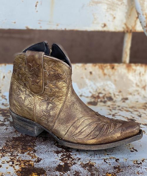 "BL2976-7 OLD GRINGO UNITED SHORT ZIPPER 5"" GOLD BRONZE GLAZED METALLIC ANKLE BOOTS"