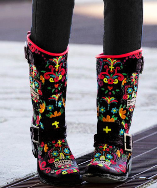 "L1385-1 Old Gringo Sugar Skull Klak Biker Multi Embroidered 12"" Biker Boots"