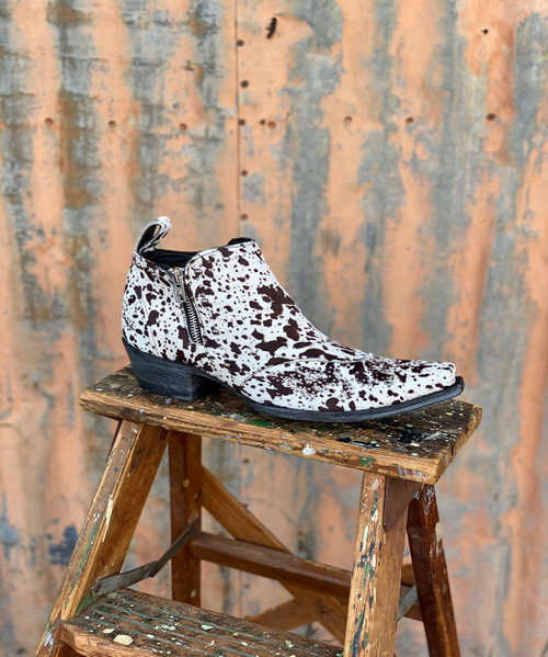 SHL3293-2 OLD GRINGO CALLIE COW PRINT HAIR HIDE STUDDED SHOE BOOT