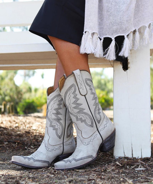 """YL 347-7 YIPPEE KI YAY BY OLD GRINGO BOOTS PEYTON WHITE TAUPE CRACKLED 10"""" LEATHER BOOT"""