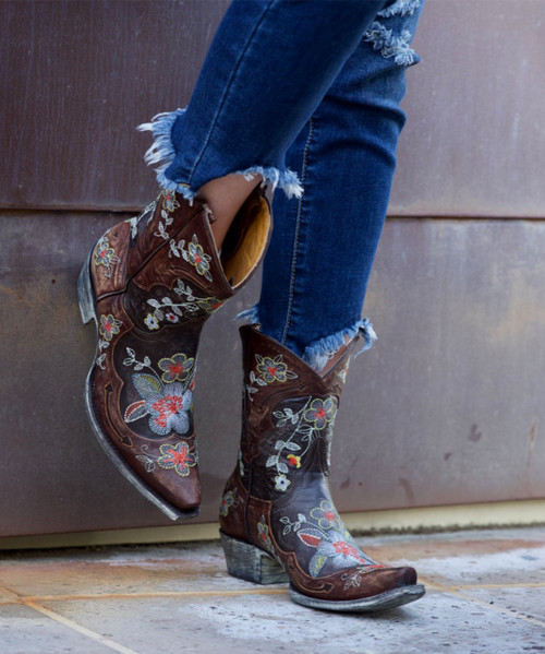 """L 649-1 Old Gringo Bonnie 8"""" Brown Brass Multi Embroidered Leather Boots"""