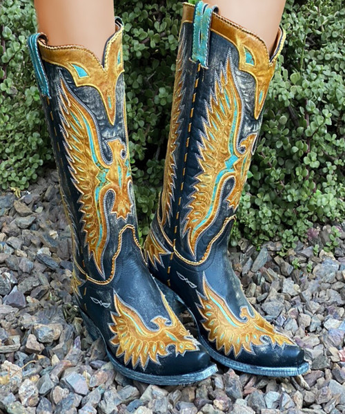 """L 105-165 OLD GRINGO EAGLE OLD HORSE BLACK BUTTERCUP TURQUOISE 15"""" LEATHER BOOTS"""