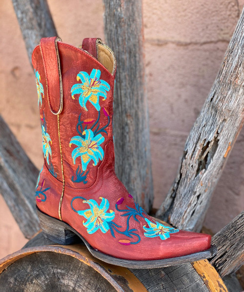 "L 098-10 OLD GRINGO LILIUM VINTAGE RED & AQUA FLORAL 10"" LEATHER BOOTS"