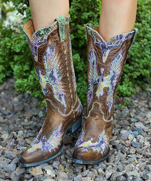 "L 105-164 OLD GRINGO EAGLE VINTAGE DISTRESSED RUST MULTI AMARILLO 13"" LEATHER BOOTS"