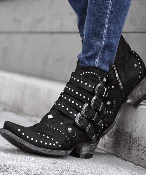 BL3099-5 OLD GRINGO JAYLENE VESUVIO BLACK LEATHER ANKLE BOOTS