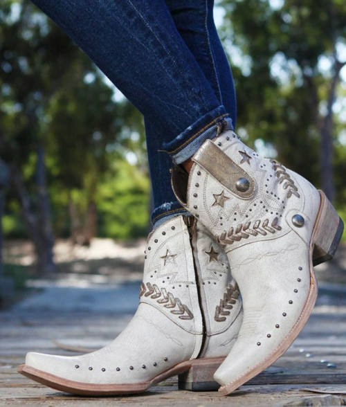 YBL 334-2 OLD GRINGO YIPPEE KI YAY BRIANNA CRACKLED TAUPE SILVER STUDDED ANKLE BOOTS