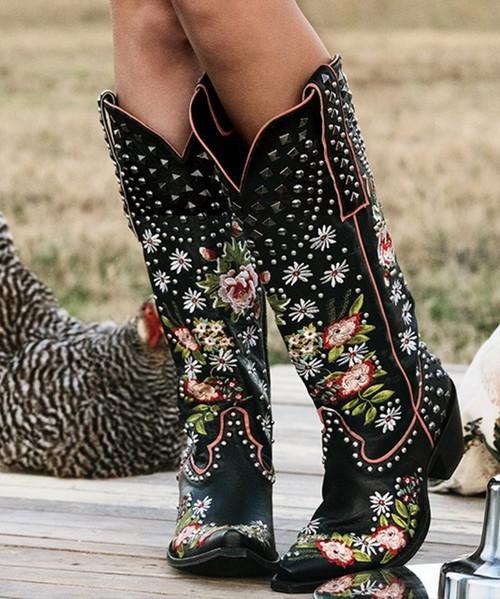 DDL063-2 Double D Ranch Backwoods Barbie Black Leather Ladies Boots