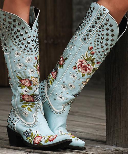 DDL063-1 Double D Ranch Backwoods Barbie Sky Blue Leather Ladies Boots