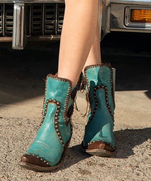 DDBL047-2 DOUBLE D RANCH STOCKYARDS TURQUOISE LEATHER ANKLE BOOTS