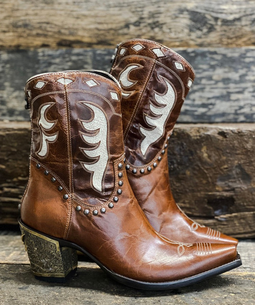 DDBL053-1 DOUBLE D RANCH THE CATTLEMAN BOOT LEATHER ANKLE BOOT