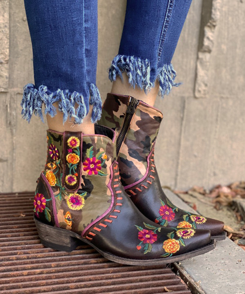 DDBL061-1 DOUBLE D RANCH COSMIC CAMO ANKLE BOOTS