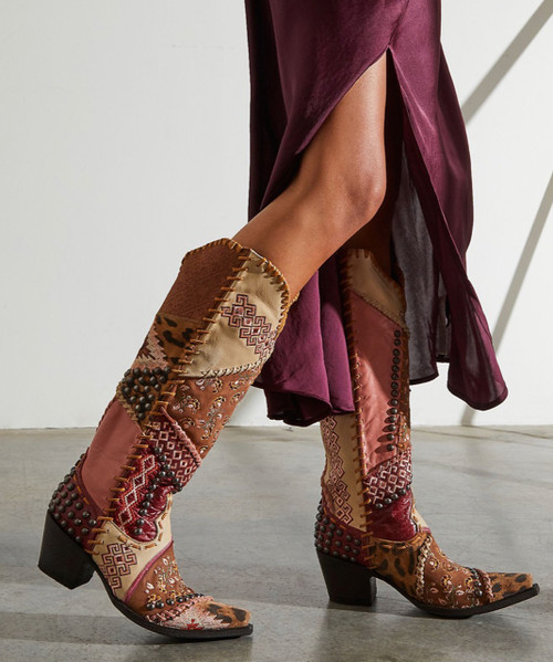 """DDL050-2 DOUBLE D RANCH MEXICALI BLOWOUT MANGO RED CREAM MULTI TALL 18"""" LEATHER PATCHWORK BOOTS"""