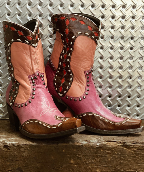 DDBL059-1 DOUBLE D RANCH BAKERSFIELD CORAL PINK BROWN ANKLE BOOTS