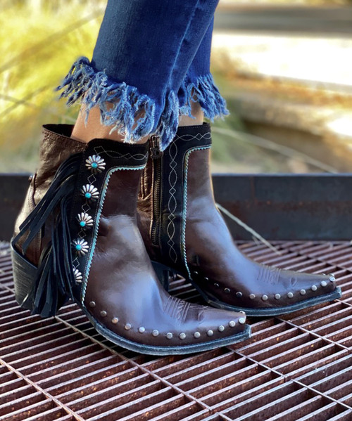 DDBL018-7 Double D Ranch Apache Kid Expresso Brown Concho Ankle Boots