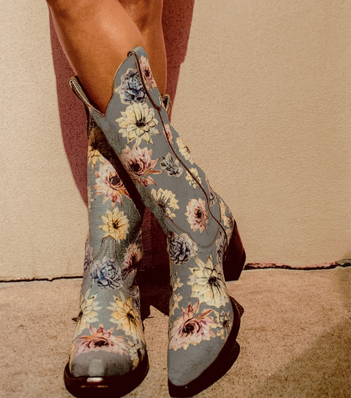 "YL 407-1 OLD GRINGO YIPPEE SAGUARO FLOWER CRACKLED BLUE FLORAL 13"" LEATHER BOOTS"