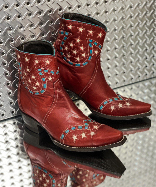 DDBL056-1 DOUBLE D RANCH LITTLE JOE RED LEATHER ANKLE BOOTS