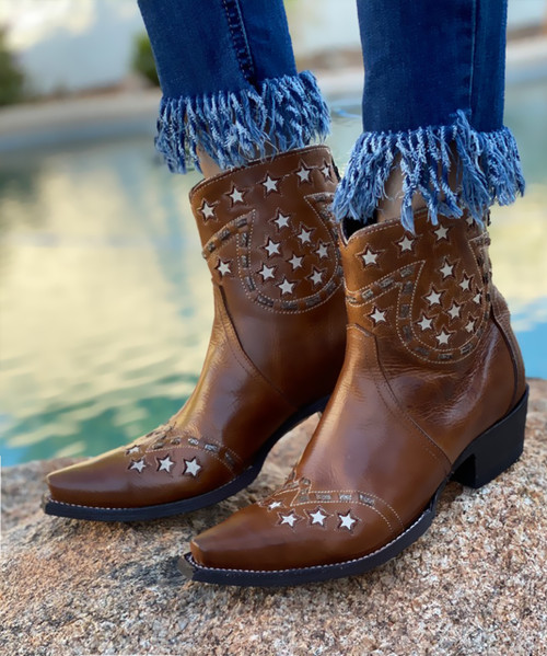 DDBL056-3 DOUBLE D RANCH LITTLE JOE BROWN LEATHER ANKLE BOOTS