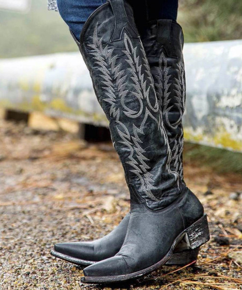 """L 601-2-RF OLD GRINGO WOMEN'S MAYRA 18"""" BOOTS BLACK """"RELAXED FIT STYLE"""""""