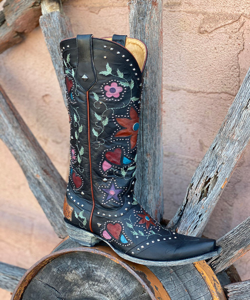 """L3351-1 OLD GRINGO LOVERS AND FLOWERS BLACK LEATHER 15"""" COWGIRL BOOTS"""