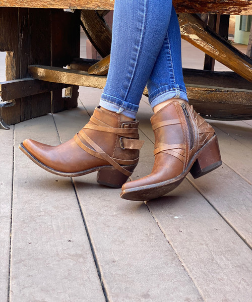 LELB-003C LIBERTY BLACK PECAN BROWN LEATHER ANKLE BOOT